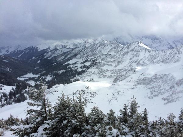 Blick vom Gipfelhang zurück ins Tal