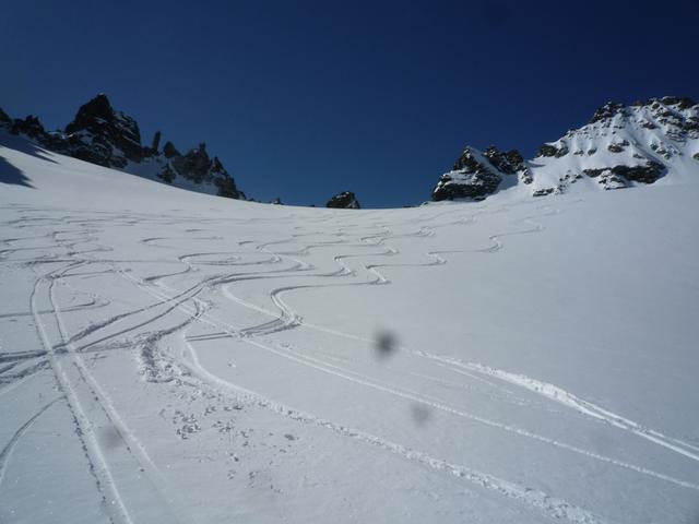 Abfahrt nach Galtür, ab und an gab es doch noch guten Schnee