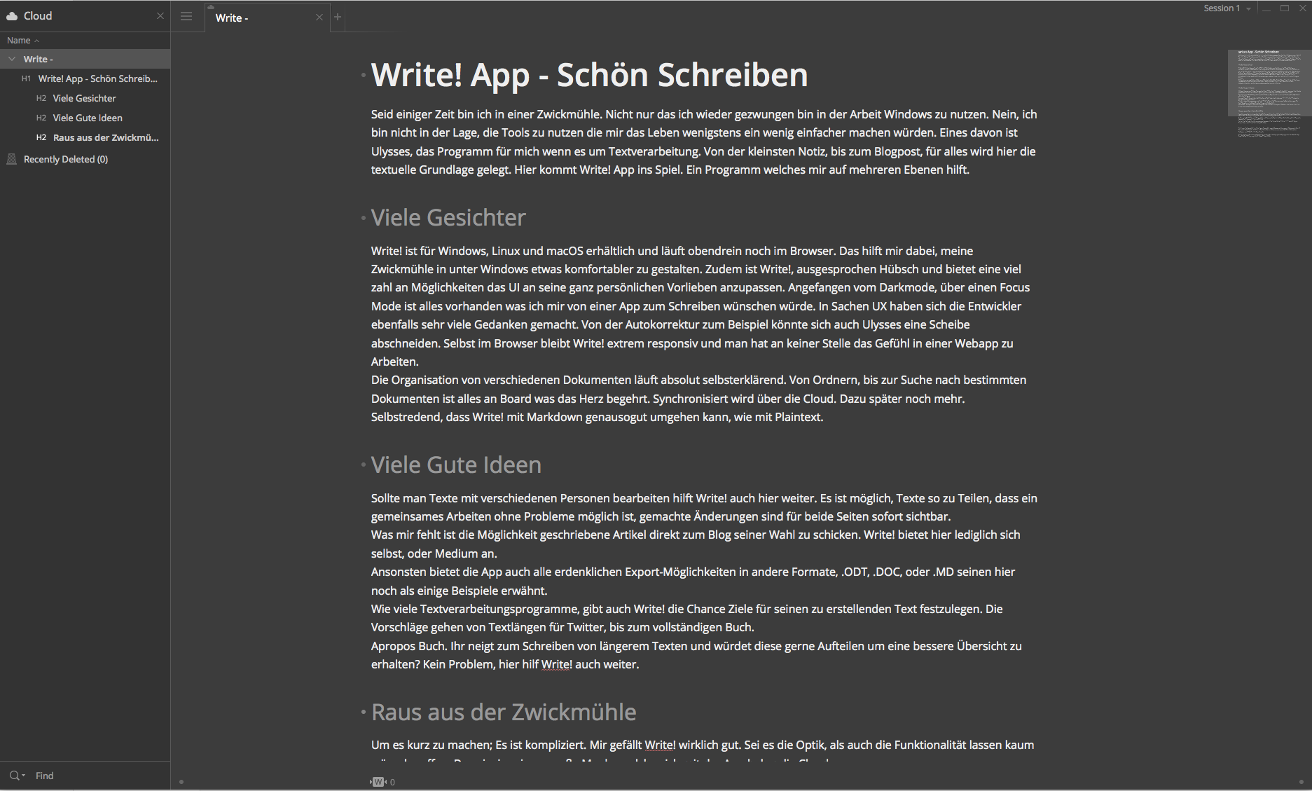 Write! App in der Vollansicht